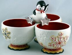Dept 56 Christmas Divided Server Candy Dish W/ Penguin