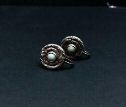 Antique Vintage Sterling Turquoise Earrings Old Pawn Snakes
