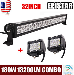 32 Inch 180w Led Light Bar Combo Fog Driving Ute 4wd Lamp + Free 2x 4 18w Pods