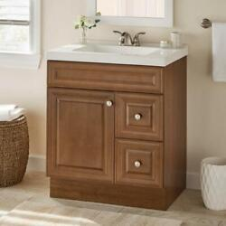 Brown Bathroom Vanity Storage Cabinet w2 Drawers Extension Glides Assembled