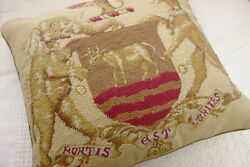 18 Vintage Royal Crest Emblem Disguised Animals Needlepoint Throw Pillow Cover