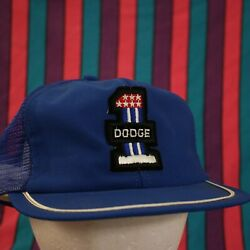 Vintage Dodge Patch Trucker Hat Cap Mesh Hipster Snapback Retro Blue USA MADE