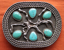 Vintage Beautiful Artist Hand Made Sterling Silver Turquoise Western Belt Buckle