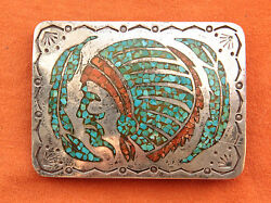 Vtg Hand Made Coral Turquoise Inlay Sterling Silver Indian Chief Belt Buckle