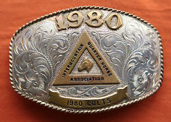 Vtg Carlos Silver Sterling 1980 Colts Hand Made Western Trophy Belt Buckle Iqha