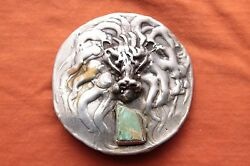 Vtg Sterling Silver Artist Hand Made Turquoise Lion Head Western Belt Concho