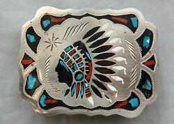Vintage Hand Made Indian Chief Turquoise Coral Inlay Western Belt Buckle