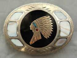Vtg Johnson Held Indian Chief Abalone Turquoise Coral Inlay Western Belt Buckle