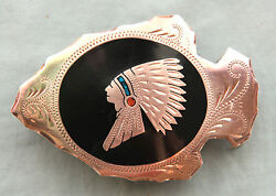 Vtg Johnson Held Turquoise Coral Indian Chief Inlay Arrowhead Belt Buckle