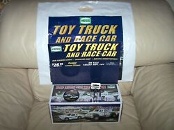 2011- Hess Truck And Race Car - Blinking Counter Display Combo- Button And Bag -mib