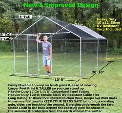 Chicken Run Pen 10ftw X 10/20/30ftl Movable Metal Walk-in Poultry Coop Bird Cage