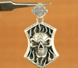 Silver Hand Carving Skull Pendant Decoration Netsuke Necklace Cool Gift