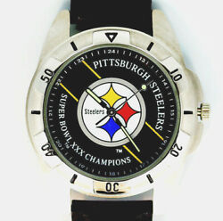 Pittsburgh Steelers Nfl Super Bowl Fossil Vintage 1996 Leather Band Watch 99