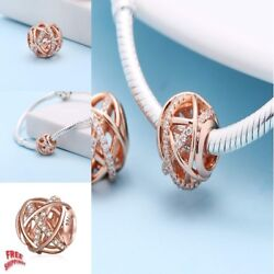 Galaxy Charm with Clear CZ 925 Sterling Silver Rose Gold Charm Suits Pandora