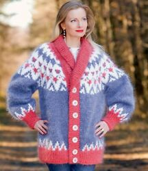 Blue Red Mohair Cardigan Icelandic Fuzzy Thick Shawl Collar Jacket Supertanya