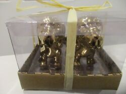 Dachshund Sausage Dogs Gold Salt And Pepper Shakers New In Package