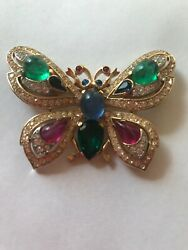 CROWN TRIFARI Jewels Of India SIGNED BROOCH PIN Butterfly VINTAGE 1965 MOGUL VTG