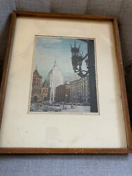 At Copley Square By Louis Novak Signed In Pencil Boston Mid Century