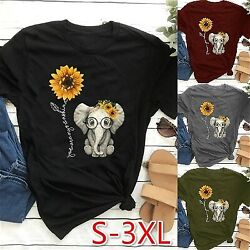 Women Short Sleeves Cute Elephant Sunflower Graphic Printed T Shirts Tee Tops