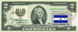 2 Dollars 2009 Star Flag And Coats Of Arms El Salvador Lucky Money Value 500