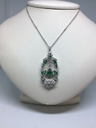 14k White Gold Pendant With 16 Inch Chain Includes. 1carat Of Diamonds