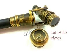 Lot Of 10 Nautical Brass Telescope Wooden Walking Stick Cane With Compass On Top