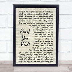 Part Of Your World Vintage Script Song Lyric Gift Print
