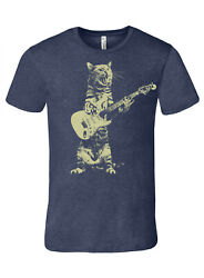 Cat Playing Guitar Menand039s Heather Navy Premium Quality Tee T Shirt