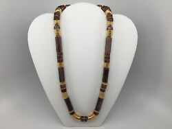 Faux Dark Amber Lucite Brass-colored Beaded Long Necklace // B2-e-1