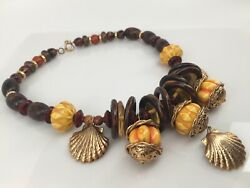 Multi Faux Stone Lucite Beaded Necklace Brass-colored Shell Shape Charms