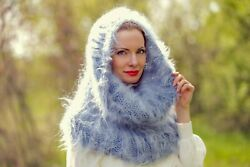 Tube Mohair Fuzzy Round Scarf Hand Knitted Soft Fluffy Neck Warmer Supertanya