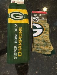 Green Bay Packers Crew Socks Marbled Large Moisture Wicking And Tube Socks New