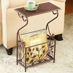 Side End Accent Table W/h Rack Magazine Holder Leaves Iron Scrolled Design 22''h