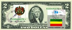 2 Dollars 2009 Star Flag And Coats Of Arms Ethiopia Lucky Money Value 500