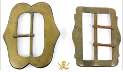 2 Colonial Period European Brass Belt Buckles 1600-1700and039s 1041 Grams Photo Cert