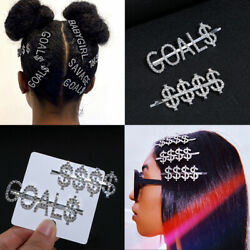 Women Rhinestone Hairclip Crystal Letters Words Hairpins Slide Barrettes Gift