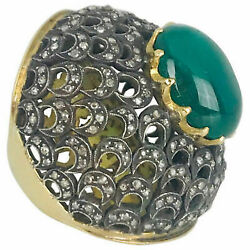 Antique Style 2.85Ctw Rose Cut Diamond Sterling Silver Emerald Cocktail Ring ia5