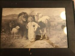 Antique 1896 Sepia Lithograph Print Peace By William Strutt Isaiah 116-7