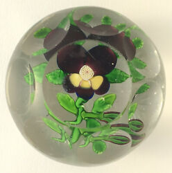 Antique Baccarat Variety Of Type 2 Pansy With Bud Glass Paperweight