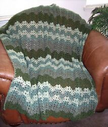 New Hand Crochet Army Green Camo Green Multi Color Afghan Lap Blanket Throw