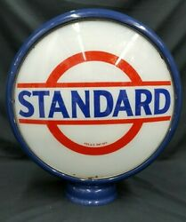 Antique 15 Standard Oil Glass And Steel Reproduction Frame Gas Station Globe
