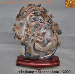 Old China Natural Agate Onyx Carved Lucky Animal Magpie Plum Blossom Bird Statue