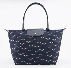 Longchamp Limited Edition Angel Horses Navy Blue Large Tote 1899 Model Auth