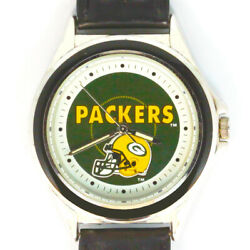 Green Bay Packers Nfl Fossil Relic Rare Unworn Watch Silver Tone Blue Insert 85