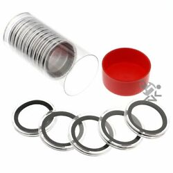 Red Lid Capsule Tube amp; 15 Air Tite X39mm Black Ring Coin Holders