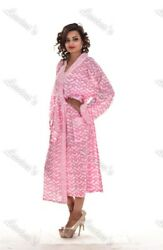 Gypsy Sleepwear Cotton Kimono Bridal Intimates Crossover Block Printed Robe 125