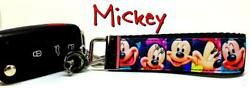 Mickey Mouse Key Fob Wristlet Keychain 1quot;wide Zipper pull Camera strap handmade $6.50