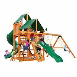 Gorilla Playsets Great Skye I Wooden Play Set with 2 Swing sunbrella canvas cano