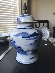 Antique Export China Porcelain Blue And White High Quality Vase With Cover