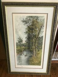 Framed Etching By Artist Geo H Mccord A Stony Brook Etched By A Drescher